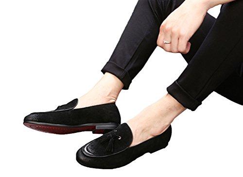 Brinny Herren Nubukleder Schuhe Retro vintage Quaste Leder Mokassin Loafer schuhe Halbschuhe Größe: 37-44 Schwarz