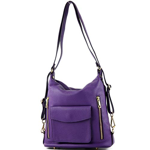 modamoda de - T174 - ital Damen Rucksack Tasche aus Leder, Farbe:Purple
