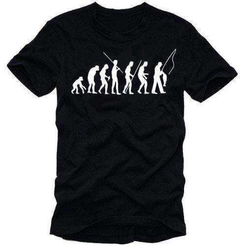 Coole-Fun-T-Shirts T-Shirt Angeln - Fischen evolution - Angler, schwarz, XXL, 10628_SCHWARZ_GR.XXL (T-shirt Angeln Zander)