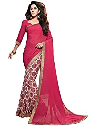 Trendzvila Women's Latest Designer Party Wear New Collection Red Georgette Bollywood Saree For Women With Unstitched...