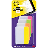 Post-it 686- PLOY Index Strong - Banderitas separadoras (4 colores x 6 unidades, 50,8 x 38 mm), color rosa, verde, naranja y amarillo