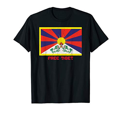 Free Tibet Retro Distressed Flag Design T-Shirt (Schwarz Free T-shirt Tibet)
