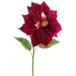Decorativa flor de pascua - Ponsetia, rojo, 80 cm, Ø 27 cm - Flor artificial / Flor sintética - artplants
