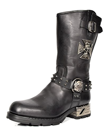 New Rock Herren Wadenlänge Biker Stiefel Schwarz Harness Design Etches Leder Schuhe (EU 43) (Rindsleder Harness Schwarz)
