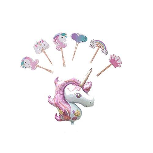 Sharplace 24 Pcs Monda de Torta Comidas en Forma Unicornio + Globos Papel de Plata Unicornio para Casamiento