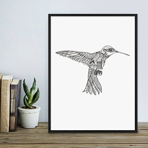 Photolini Design-Poster 'Kolibri' 30x40 cm schwarz-weiss Motiv Vogel - Vögel Zeichnung