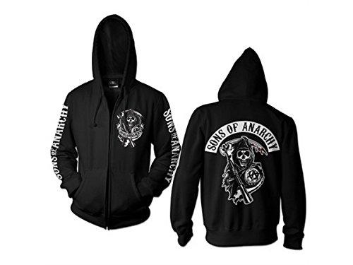 Sons Of Anarchy - Backpatch Reißverschluss unisex Hoodie Pullover schwarz - Fernsehen Waren - L - Hybris (Sons Of Anarchy Hoodie-pullover)