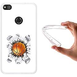 Funda Huawei P8 Lite 2017 - Huawei Nova Lite, WoowCase [ Huawei P8 Lite 2017 - Huawei Nova Lite ] Funda Silicona Gel Flexible Balon de Baloncesto, Carcasa Case TPU Silicona - Transparente
