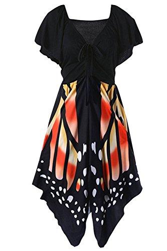 Plus Size Gemijacka Damen Schmetterling Druck Kordelzug Kurzarm Empire-Taille V-Ausschnitt (Stadt Halloween Kostüme Party Ideen)