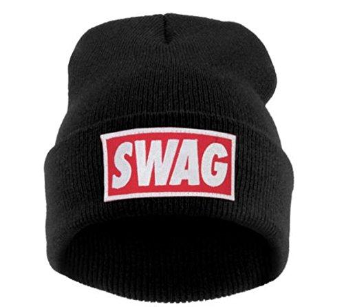 Beanie Hüte Mützen Damen Herren Bad Hair Day Bastard Meow Swag Wasted Commes HAT HATS Morefazltd (TM(swag black)