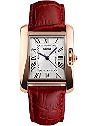 Naivo Women's Quartz Stainless Steel and Leather Casual Color:Red (Model: WATCH-1174)