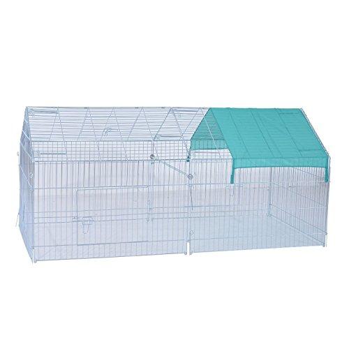 Pawhut – box gabbia da esterno per animali domestici con tettuccio spiovente in ferro 220 x 103 x 103cm
