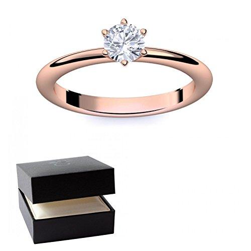 Rotgold Ring Verlobungsringe Rotgold (Silber 925 vergoldet) von AMOONIC mit SWAROVSKI Zirkonia Stein LUXUSETUI Rotgoldring Ring Zirkonia wie Diamant Geschenk Ringe Verlobung AM195VGRTZIFA54 (Gangster Freundin Kostüme)