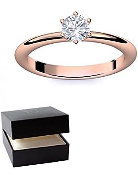 Verlobungsring Rotgold Ring Zirkonia 585 + inkl. Luxusetui + Zirkonia Ring Rotgold Zirkoniaring Rotgold (Rotgold...