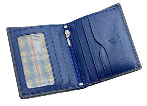 StarHide® Herren Designer Hochwertige Weiche Nappaleder Luxus Brieftasche Mit Einer Einzigartigen Mischung Aus Farbe #1155 (Grau / Blau) Grau / Blau