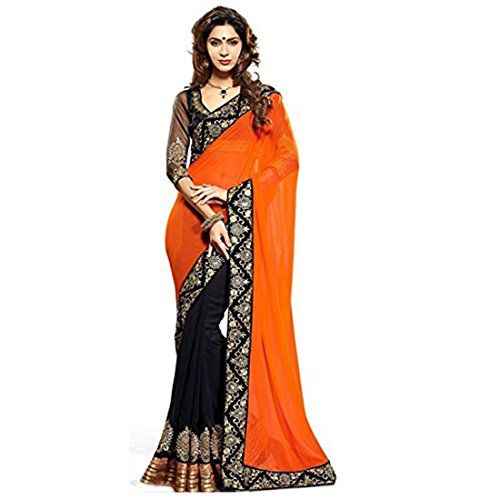 Shree Mira Impex Women's Georgette Saree With Blouse Piece (Smix-42_Peach)