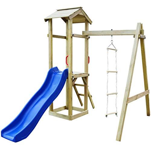 vidaXL Parque Infantil con Tobogán y Escaleras de Madera FSC Juego Exteriores