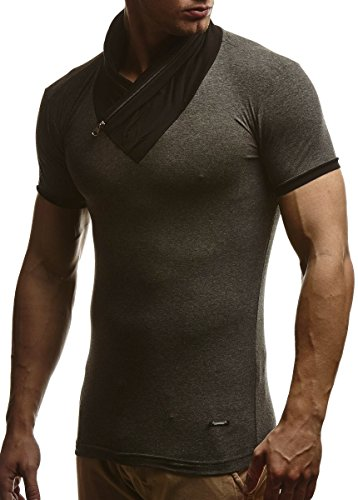 LEIF NELSON Herren T-Shirt Sweatshirt Slim Fit LN665 Anthrazit ...