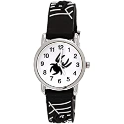 Pure Time Children's Watch-Childrens Silicone Watch With Spiders Design Black and White + Watch Box