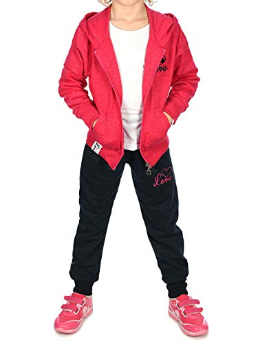 BEZLIT Kinder Mädchen Sweat-Jacke Sport-Anzug Jogger Sweat-Hose Freizei-Hose (2 TLG. Set) 30020 Pink 128