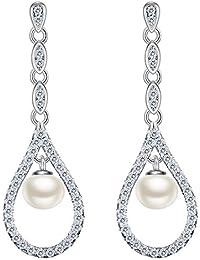b91925cf3294 EVER FAITH Mujer Plata de ley 925 Pendientes con perla natural forma de  agua gota para