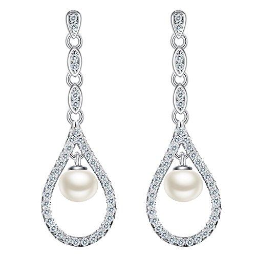 EVER FAITH 925 Sterling Silver CZ 4MM Freshwater Cultured Pearl Bridal Elegant Open Teardrop Dangle Earrings