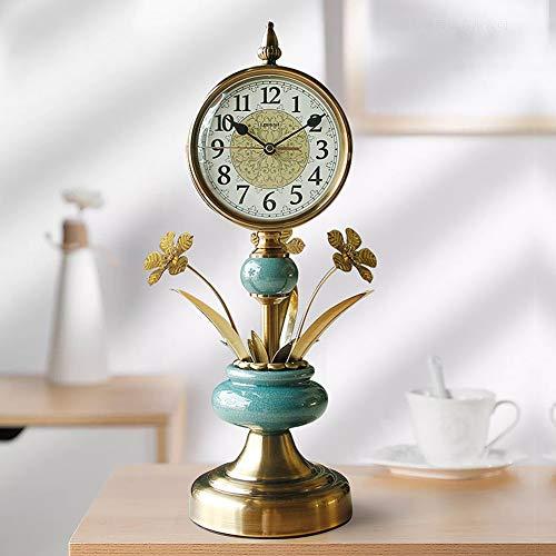 Li-lamp Tischuhr, Quarz Tischuhr Seiko Wohnzimmer Metallmanteluhr Stummschaltung Europäische Retro Zeituhr Atmosphäre Uhrenspiegel