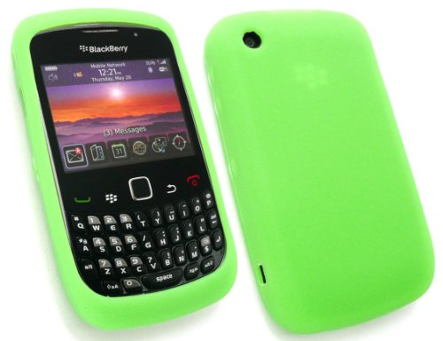 Emartbuy Blackberry 8520 Curve / 9300 Curve 3G Lcd Screen Protector Und Silicon Case / Cover / Skin Neon Grün 8520 Lcd