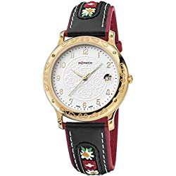 M-Watch Women's Quartz Watch with White Dial Analogue Display and Black Leather Strap WRF.32210.LB