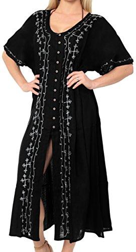 La Leela Women's Casual Beachwear Tie Dye Loose Bikini Swimwear Cover up Caftan Dress Black