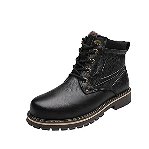 WALK-LEADER Mens Nubuck Leather Casual Fur-lined Warm