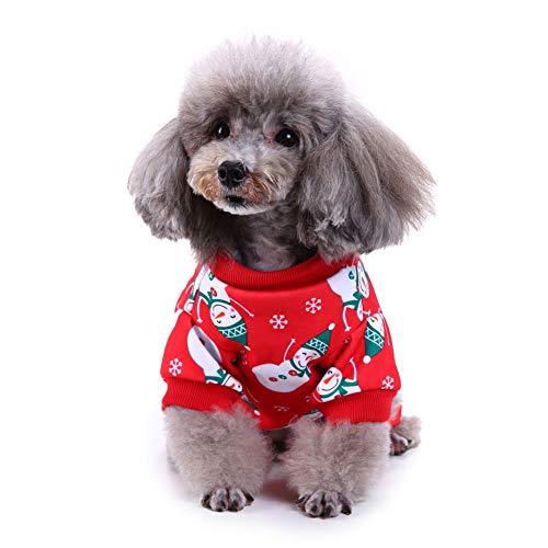 Noa54fran Haustier Hund Winter warmes Kostüm, Hund Herbst Outfit, Welpen Weihnachtsfeier Schneemann Anzug, Haustier Urlaub Party Kleidung Bekleidung für kleine Hunde Welpen Cosply Snowman# - Schneemann Kostüm Für Hunde