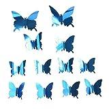 DierCosy 3D-Schmetterlings-Wand-Aufkleber 12st Spiegel Flugzeug-Wand-Dekoration Selbstklebende Wand-Ornament Blau