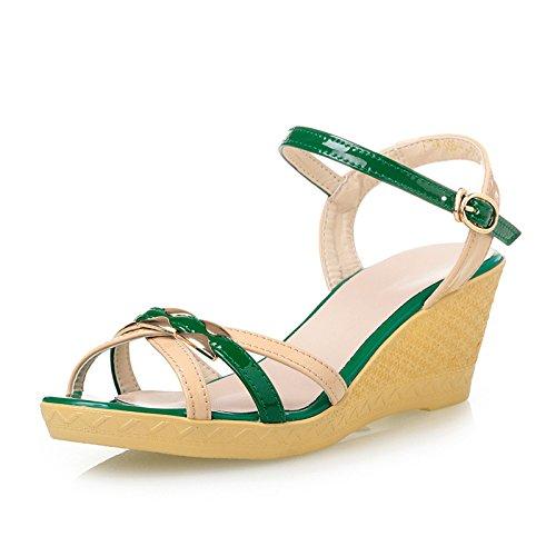La pendenza con alto femminile con tacco in estate sandali o pendio con sandali Torre Fashion Color Green