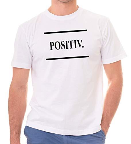Siviwonder lustiger Spruch - Positiv - beifall Optimist - lustiges Statement Unisex T-Shirt Shirt weiß XL