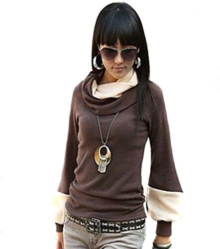Prij Japan Style von Mississhop DAMEN BLUSE LONGSHIRT TUNIKA Pullover Braun-ecru L