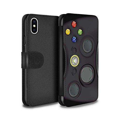 STUFF4 PU-Leder Hülle/Case/Tasche/Cover für Apple iPhone X/10 / Schwarz Xbox 360 Muster / Spielkonsolen Kollektion (Xbox 360 E Fall-haut)