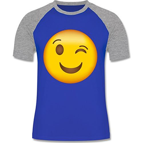 Shirtracer Comic Shirts - Zwinker Emoji - Herren Baseball Shirt Royalblau/Grau meliert