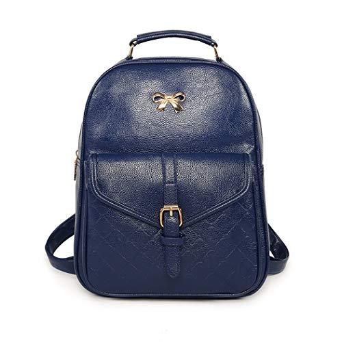 CH-BZ Damen Rucksack Japanischen Stil PU Handtaschen Einfarbig Nähgarn Kleine Tasche Umhängetasche Handtasche Student Rucksack,Blue