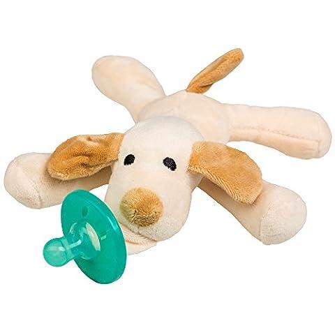 Schnuller Kuscheltier für Neugeborene Babys und Säuglinge (Hund hell)
