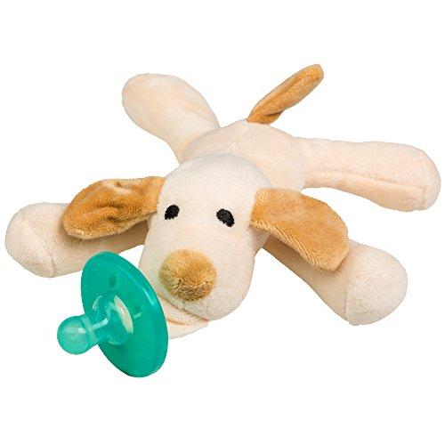 Schnuller Kuscheltier für Neugeborene Babys und Säuglinge ab 0 - 3 Monate (Hund hell)