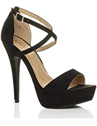 Nero 37 EU Donna tacco alto fibbia cinturini incrociati scarpe punta oqh