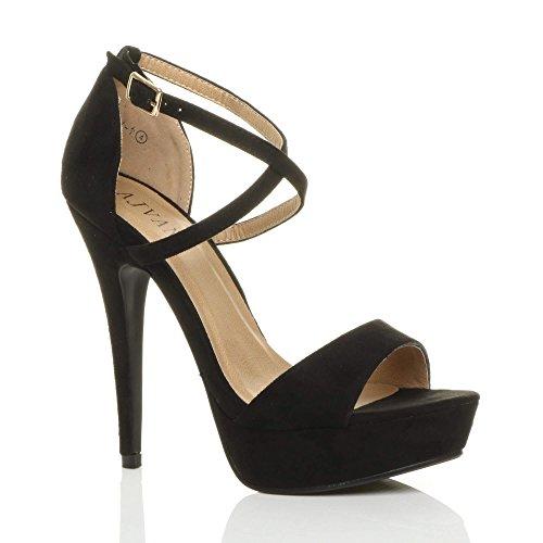 Donna tacco alto fibbia cinturini incrociati scarpe punta aperta sandali taglia 4 37