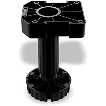 150 mm en plastique Noir EMUCA 2032317 Jeu de 4 pieds r/églables avec accessoires pour cuisine//salle de bain