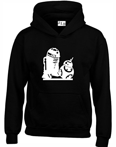 JLB Print R2D2 and BB-8 Droids Silhouette Star Wars Inspired Premium Quality Unisex Hoodies For Men, Women and Teens