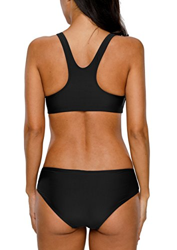 CharmLeaks Damen Sport Bikini Zweiteiler Bandeau Badeanzug Sport Tankini Oberteil + Hotpants Blau #