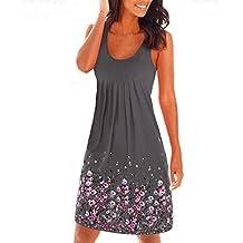 c5b147de684 Damen Sommerkleid ohne ärmel knielang Strandkleid Elegant Partykleid  cocktailkleid Spitze Druck A-Linie Kleider