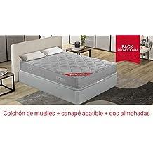PIKOLIN Pack Colchón viscoelástico de muelles 150x190+ canapé con Base abatible en Madera y Dos Almohadas