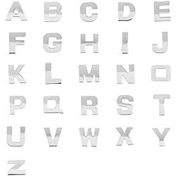 MagiDeal 3D DIY Metálico en Forma de Letra Alfabeto A-Z Pegatina Emblema de Coche Figura Insignia Accesorios Decorativos