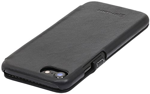 StilGut Book Type Case con clip, custodia in pelle cover per iPhone 7 (4,7) Chiusura a libro Flip-Case in vera pelle, Blu Scuro Nappa Nero Nappa